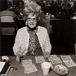 Elinor Cahn - Bingo Player, Saint Casimer's Church Hall, from the East Baltimore Documentary Survey Project