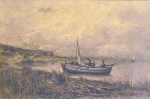Buy Museum Art Reproductions | Landscape with small boats and fishermen by Jacques Barthélemy Appian | WahooArt.com