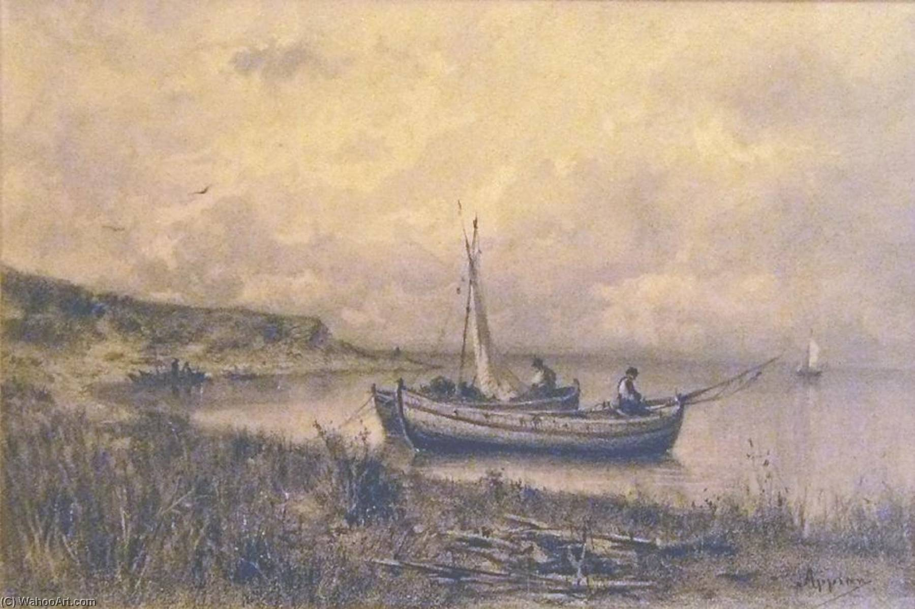 Landscape with small boats and fishermen by Jacques Barthélemy Appian | Museum Art Reproductions Jacques Barthélemy Appian | WahooArt.com
