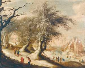 Gijsbrecht Leytens - A winter landscape with skaters on a frozen river and peasants collecting wood