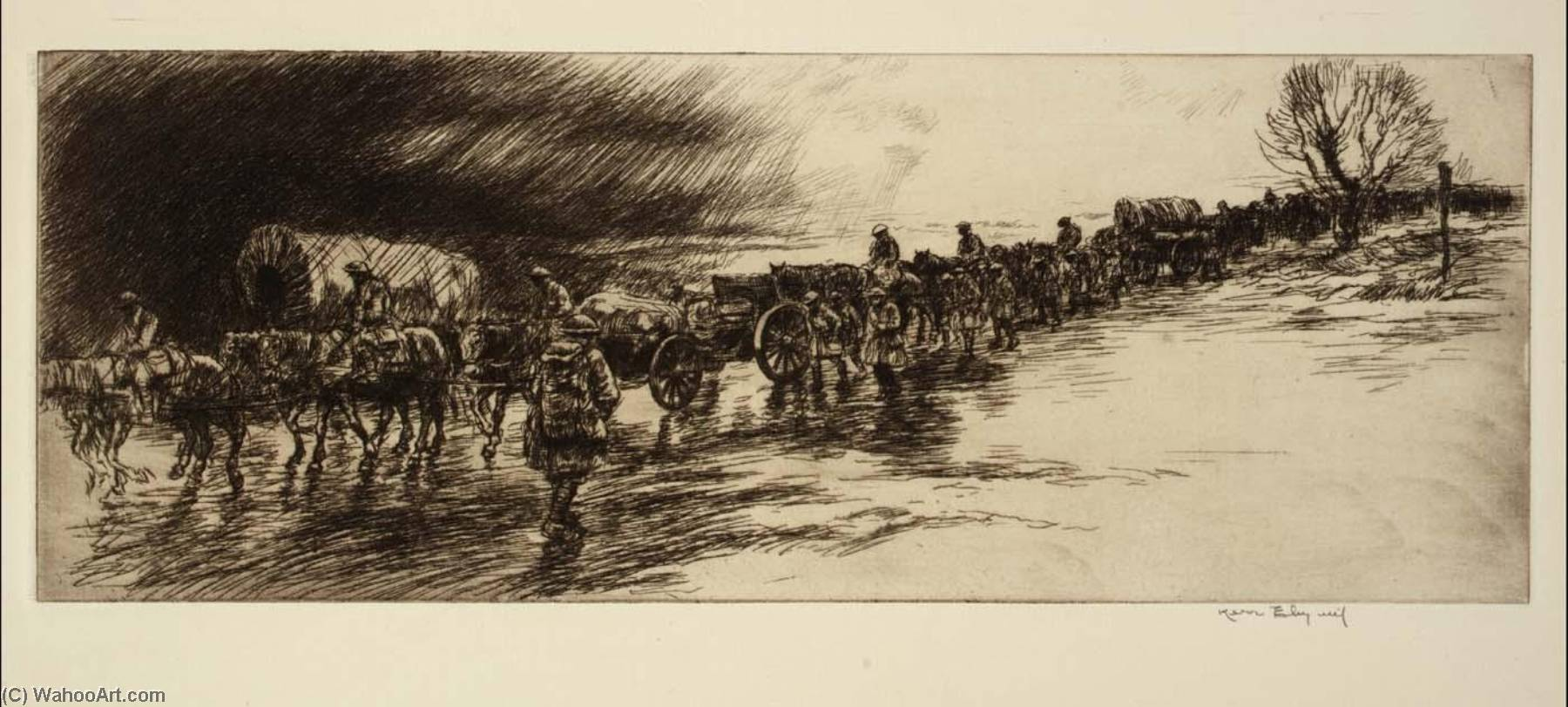 Artillery Train, Etching by Kerr Eby