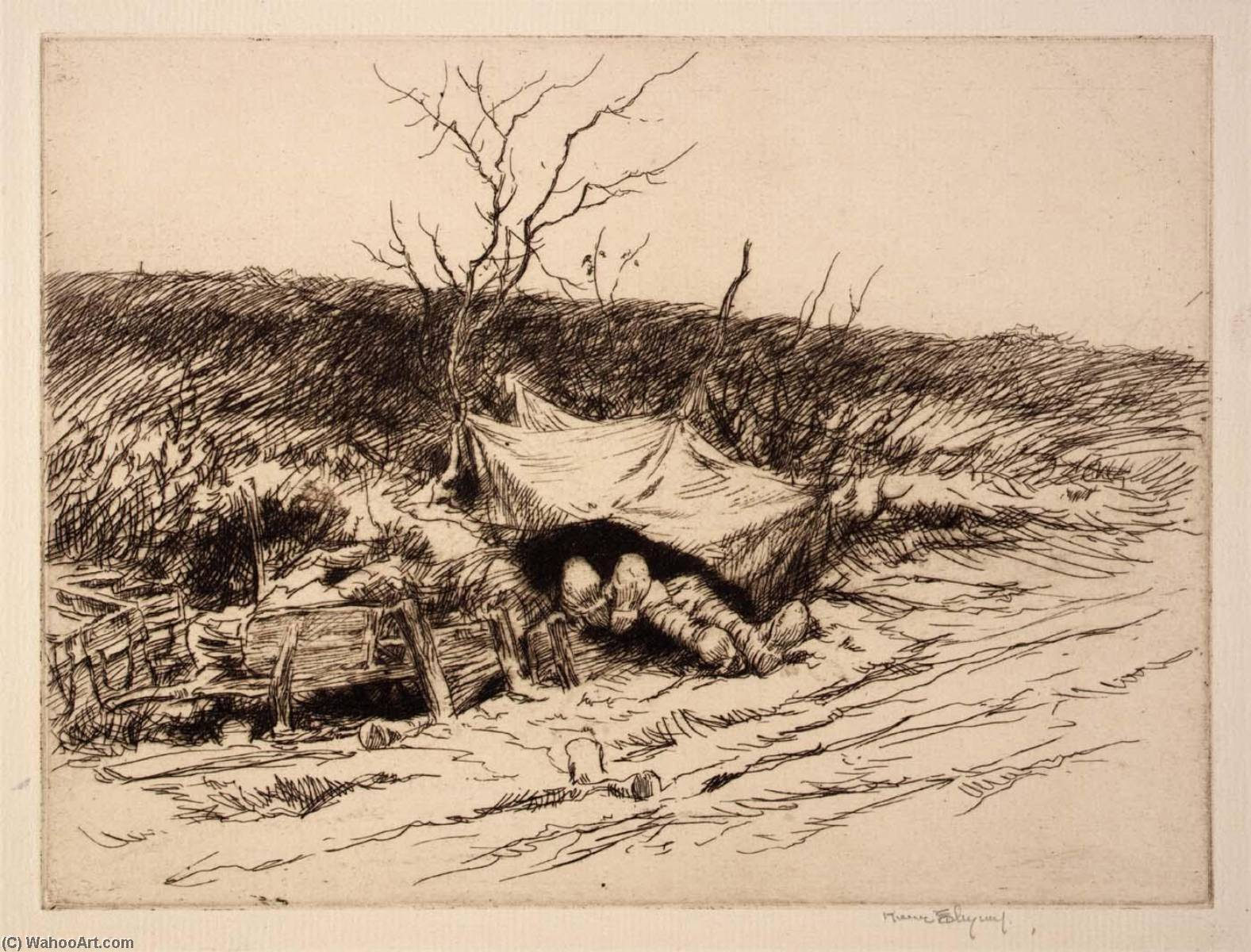 Lodgings for the Night, Etching by Kerr Eby