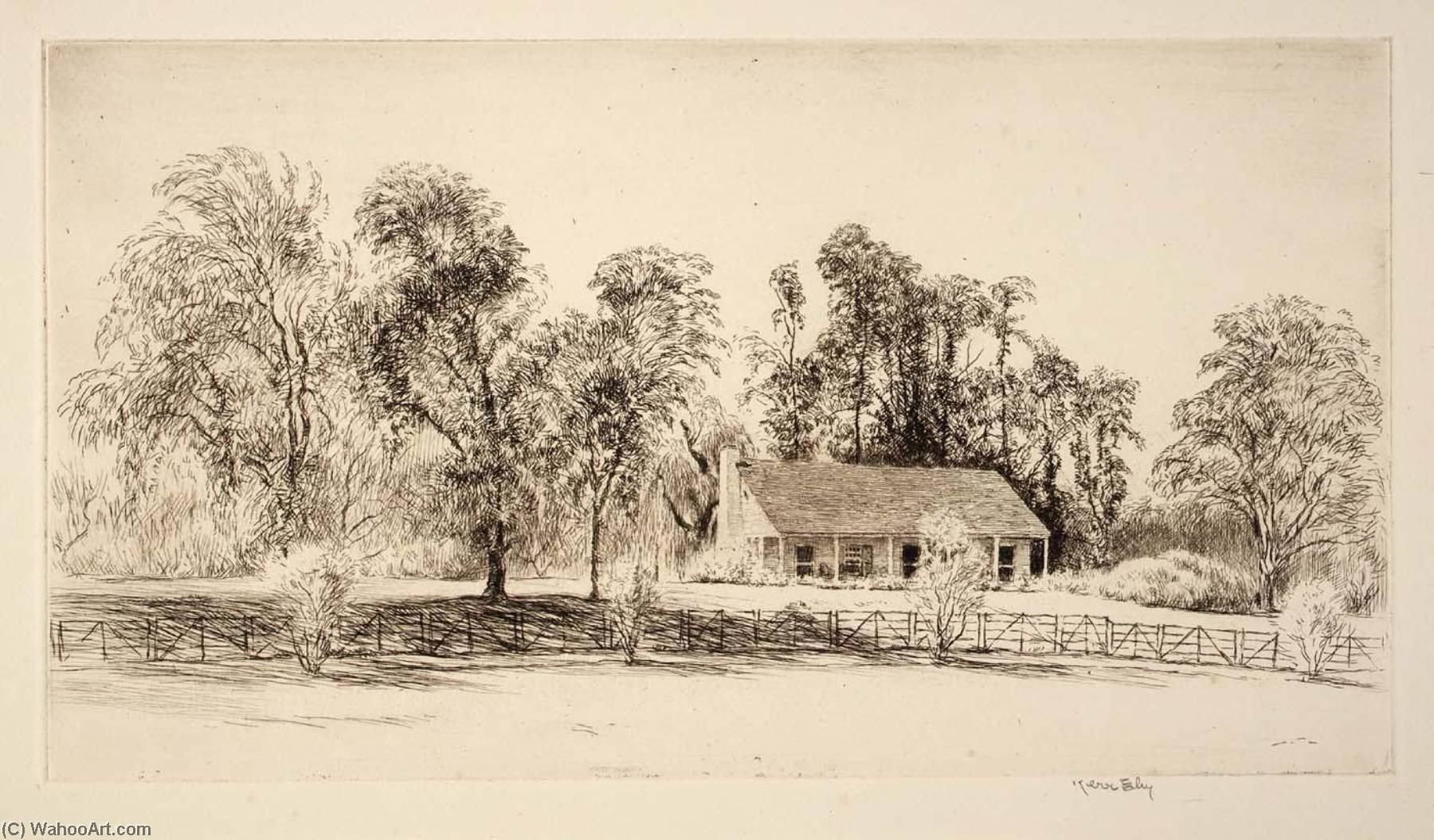 Long Island Cottage, 1940 by Kerr Eby | Museum Quality Copies Kerr Eby | WahooArt.com