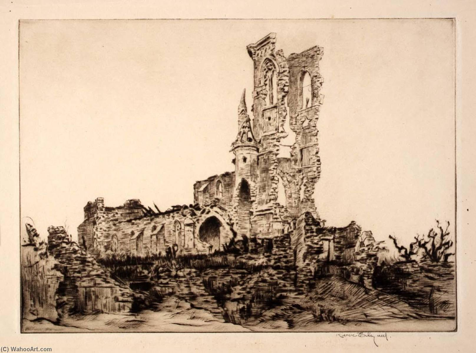Fleurie Church, 1920 by Kerr Eby | Painting Copy | WahooArt.com