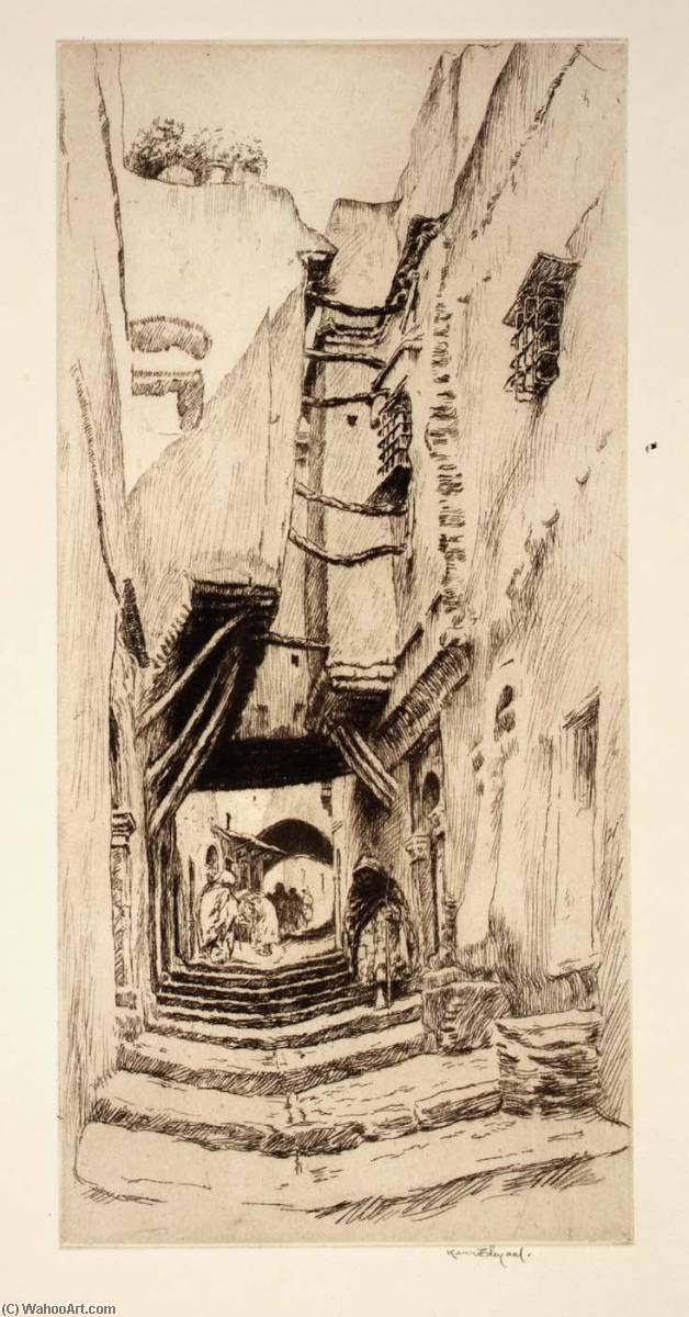 Steps and Doorways, Algiers, 1921 by Kerr Eby | Museum Art Reproductions Kerr Eby | WahooArt.com
