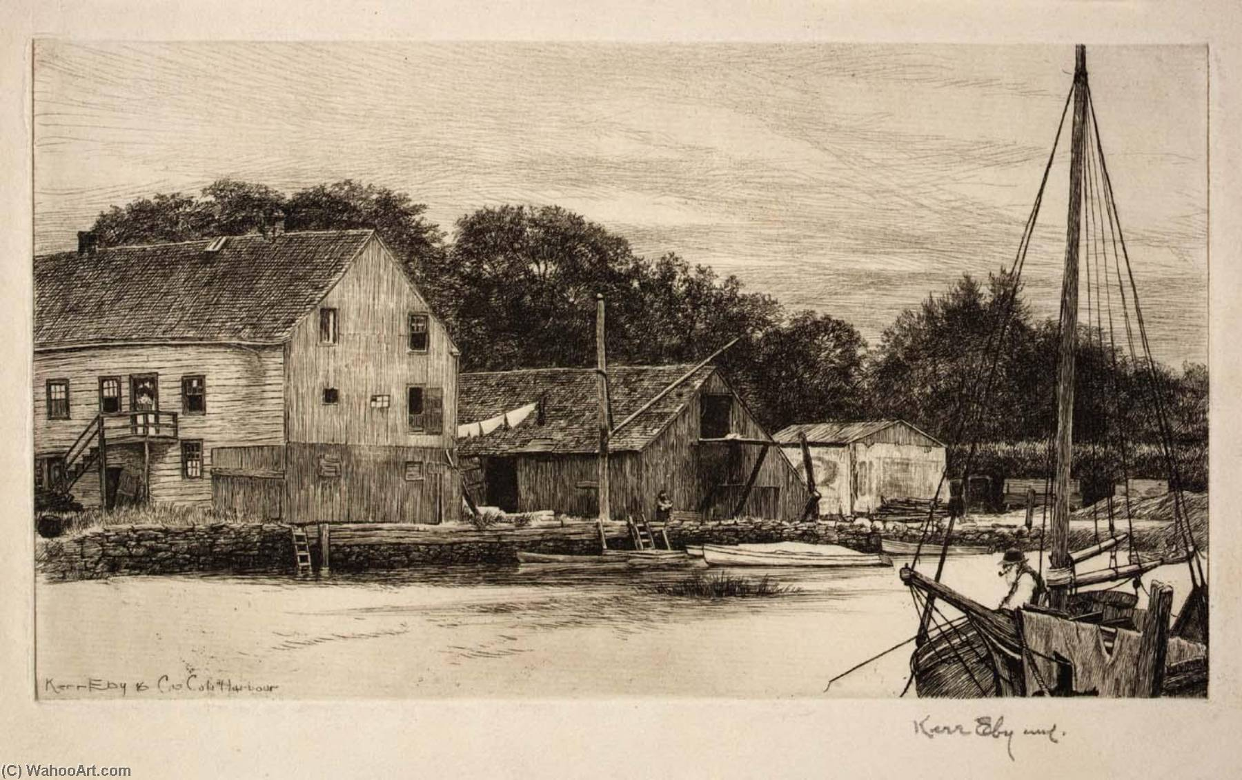 Cos Cob Harbor, 1916 by Kerr Eby | Museum Quality Reproductions | WahooArt.com