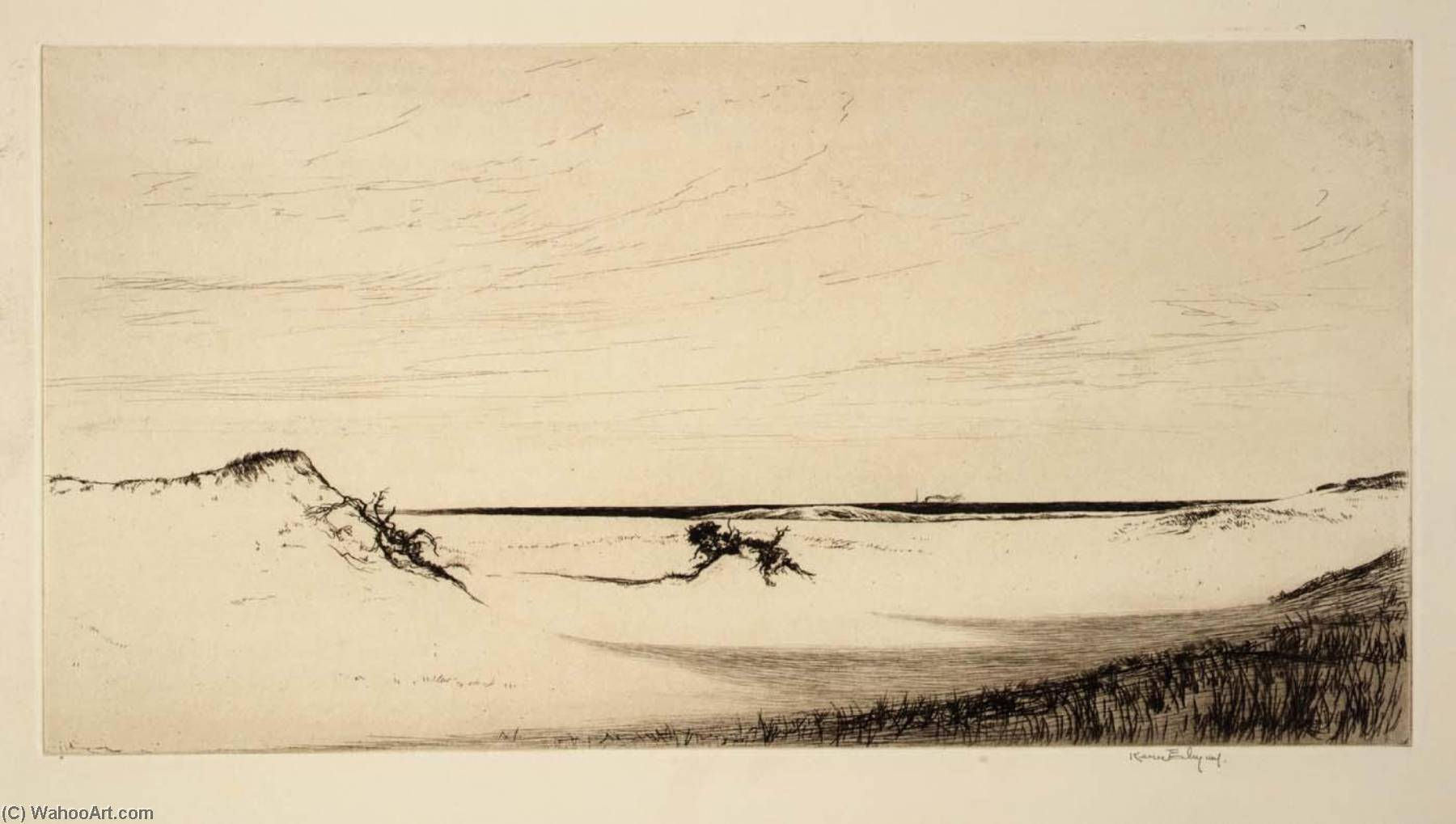 Sand and Sea, Cape Cod, Etching by Kerr Eby