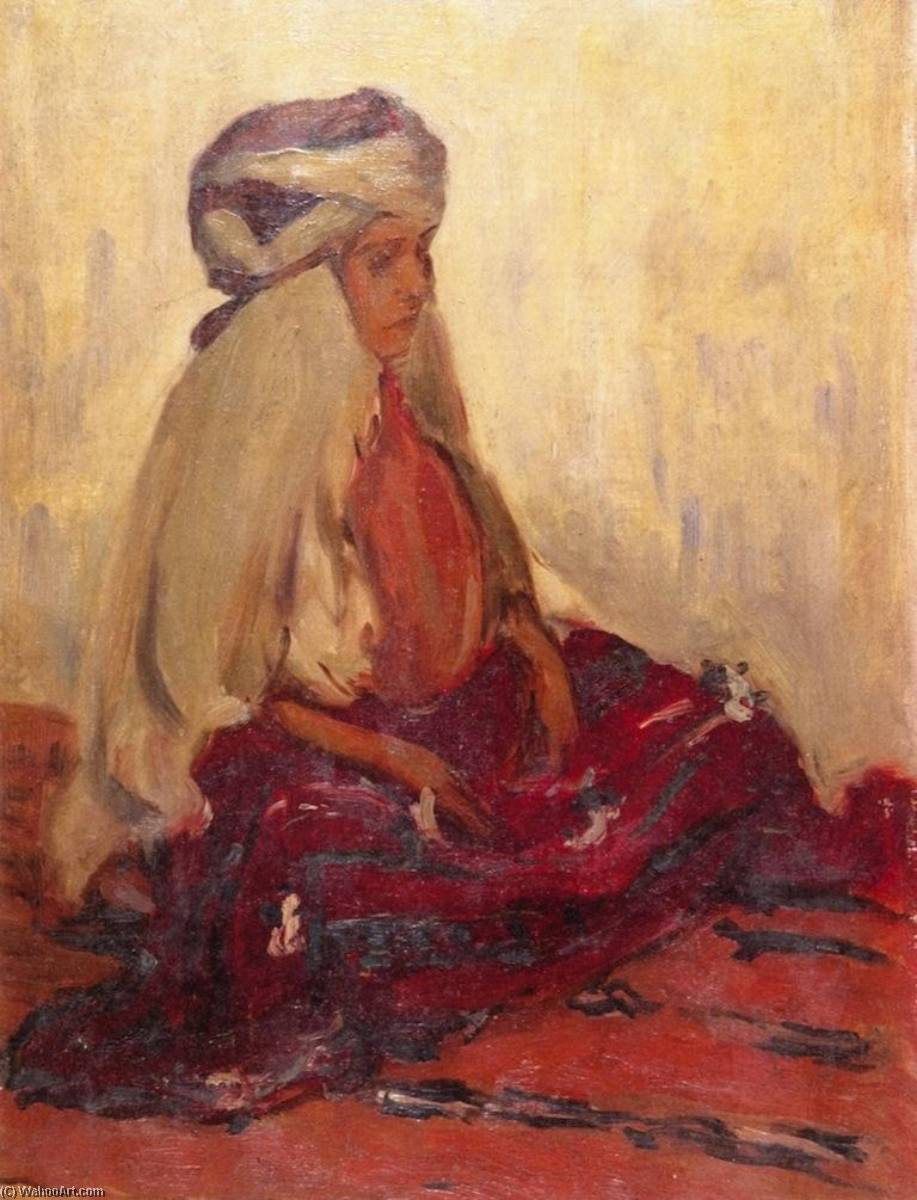 Kabyle Woman, 1906 by Lucien Abrams | Famous Paintings Reproductions | WahooArt.com
