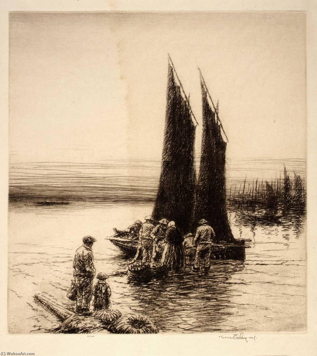 Order Art Reproductions | Black Sails, Brittany, 1932 by Kerr Eby | WahooArt.com