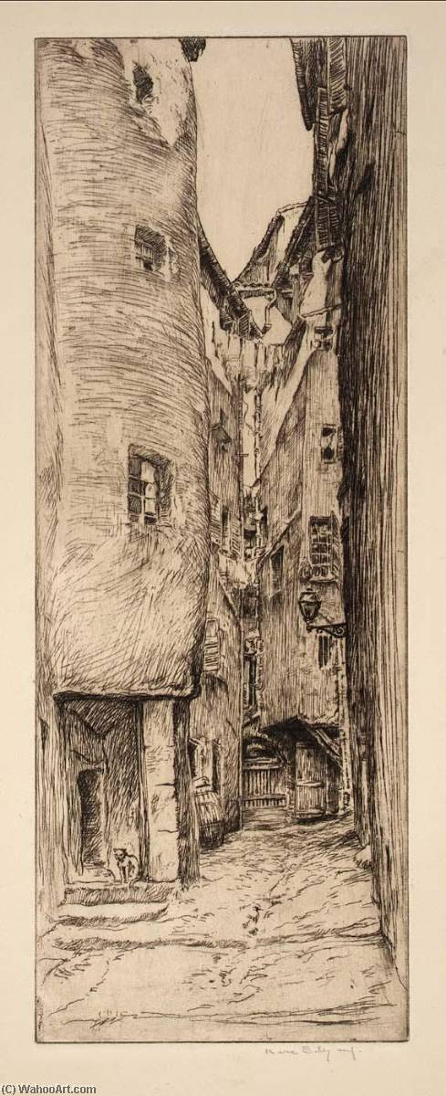 Back Street, Etching by Kerr Eby