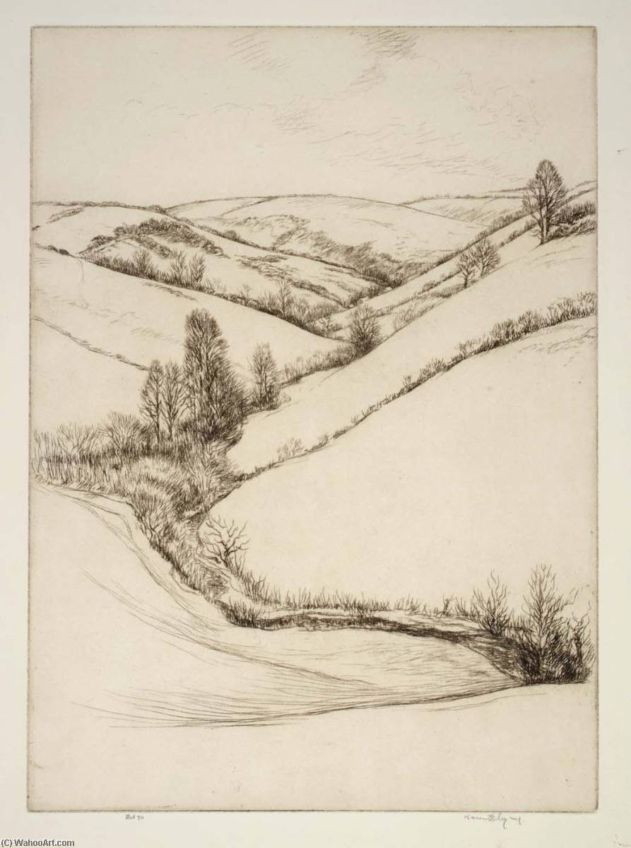 Spring in Cornwall, Etching by Kerr Eby
