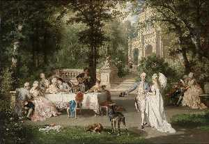 Karl Schweninger Junior - Gallant Scene in the Park