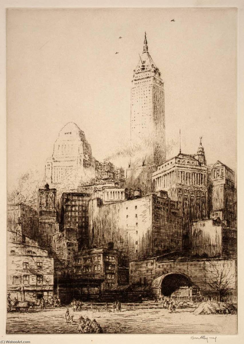 Lower New York, Etching by Kerr Eby