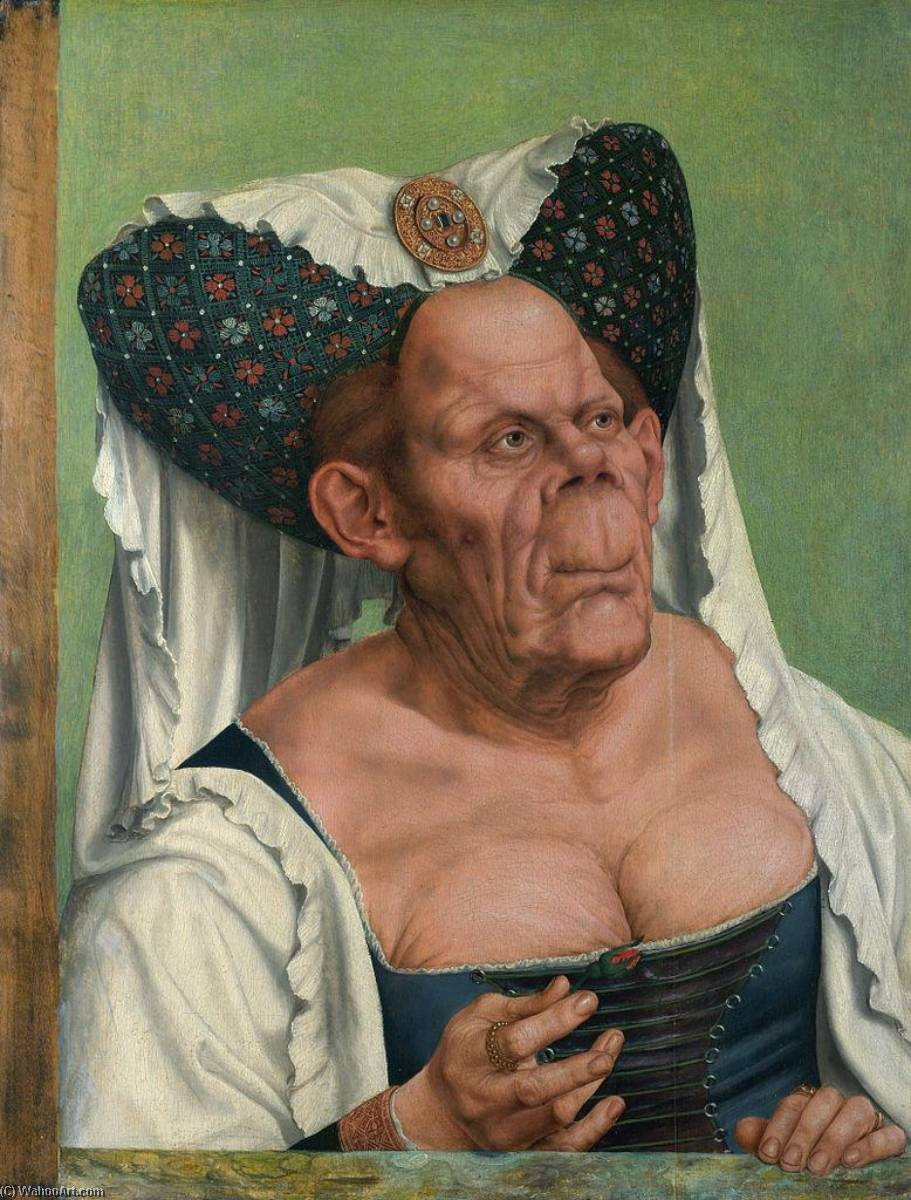 A Grotesque Old Woman (also known as The Ugly Duchess), Oil On Panel by Quentin Massys (1466-1530, Belgium)