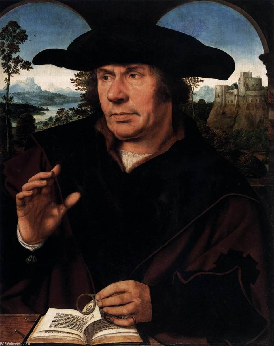Man with Glasses, Oil On Panel by Quentin Massys (1466-1530, Belgium)