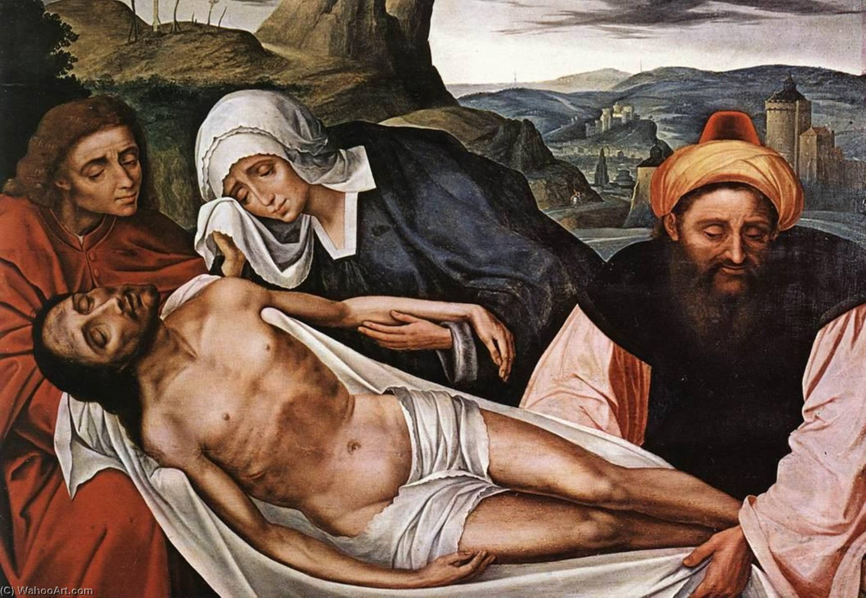 Entombment, Oil On Panel by Quentin Massys (1466-1530, Belgium)