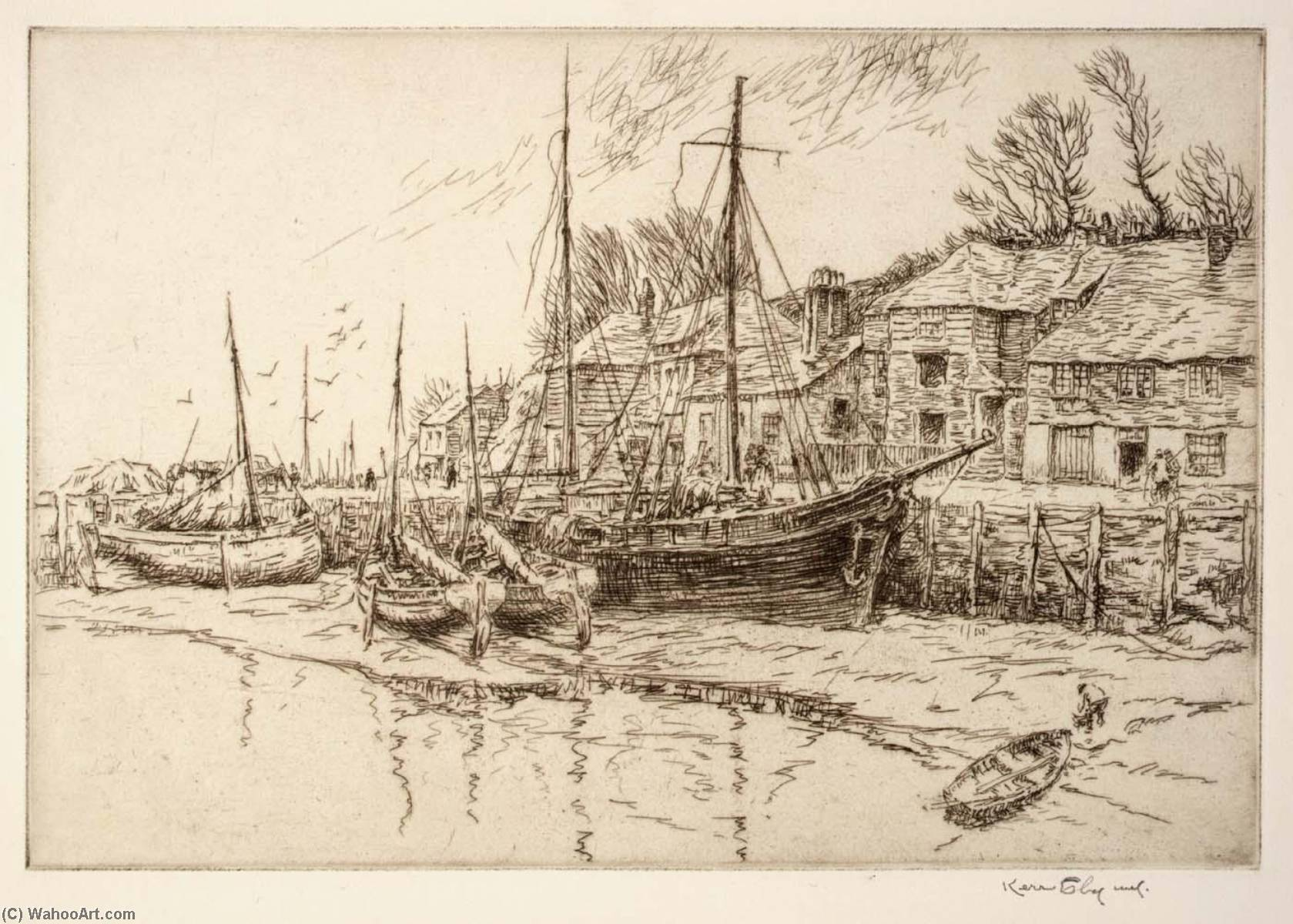 Boat Houses, 1940 by Kerr Eby | Art Reproduction | WahooArt.com