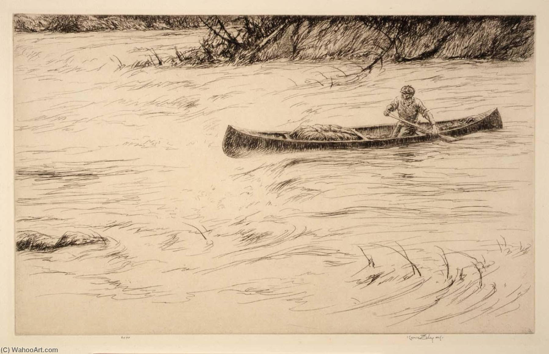 White Water, Etching by Kerr Eby