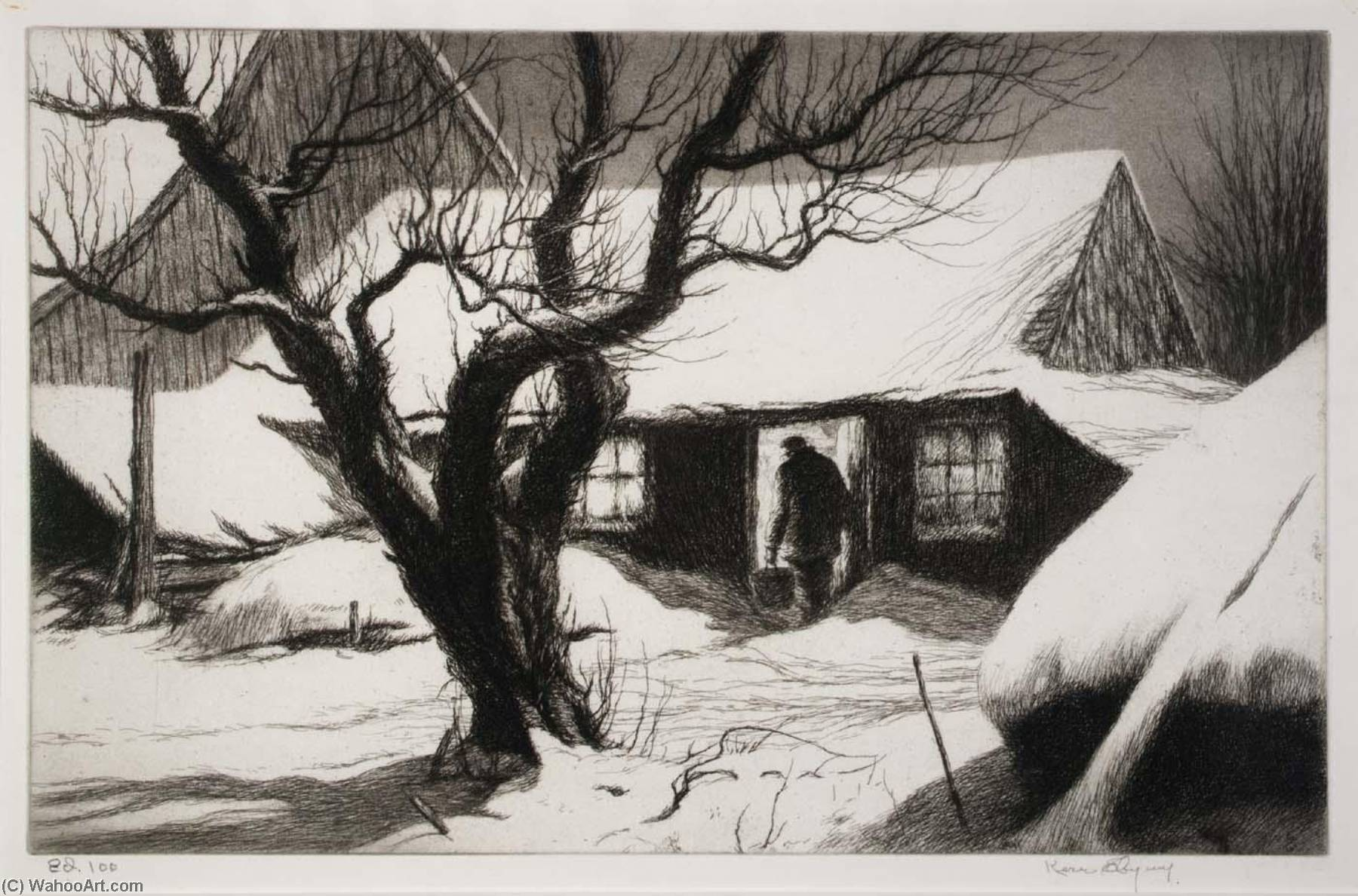 Cow Shed, Friendship, Maine, 1941 by Kerr Eby | Reproductions Kerr Eby | WahooArt.com