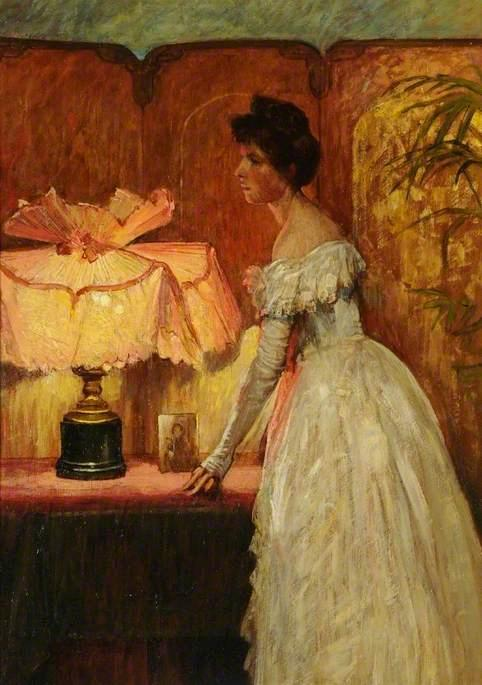 Interior with a Lady, 1891 by Francis Bernard (Frank) Dicksee | Oil Painting | WahooArt.com