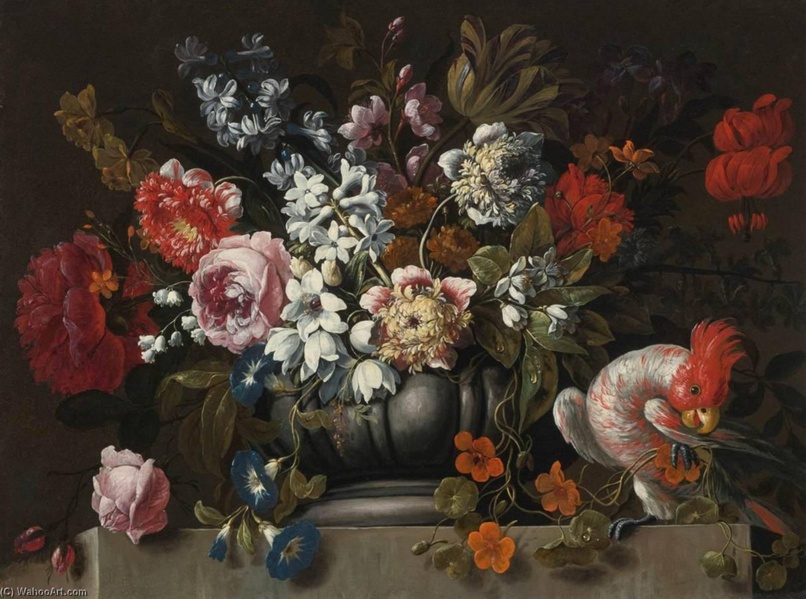 Still Life of Flowers in a Stone Urn with a Parrot by Gaspar Peeter The Younger Verbruggen | Oil Painting | WahooArt.com