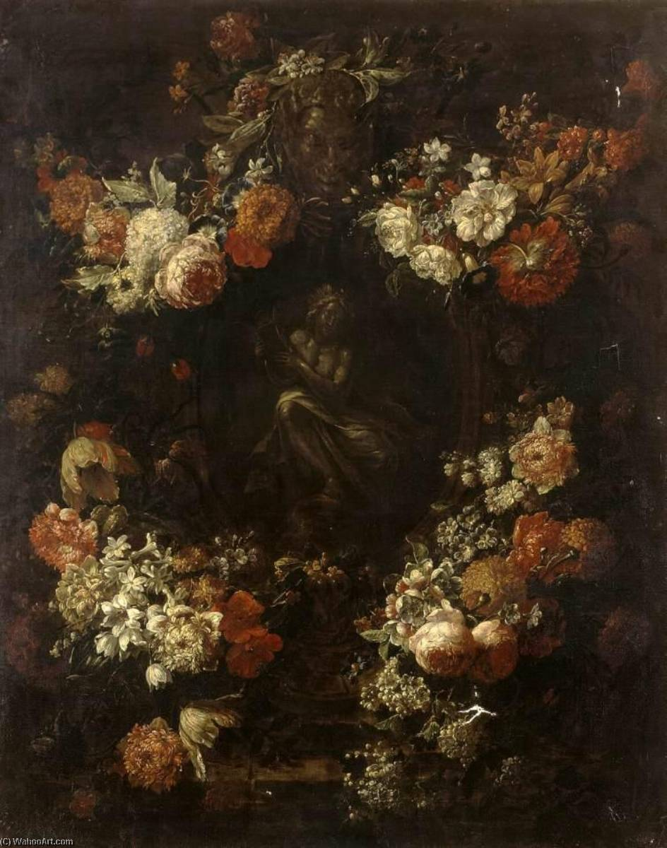 Apollo the Kithara Player Framed with a Garland of Flowers, 1701 by Gaspar Peeter The Younger Verbruggen | Art Reproduction | WahooArt.com