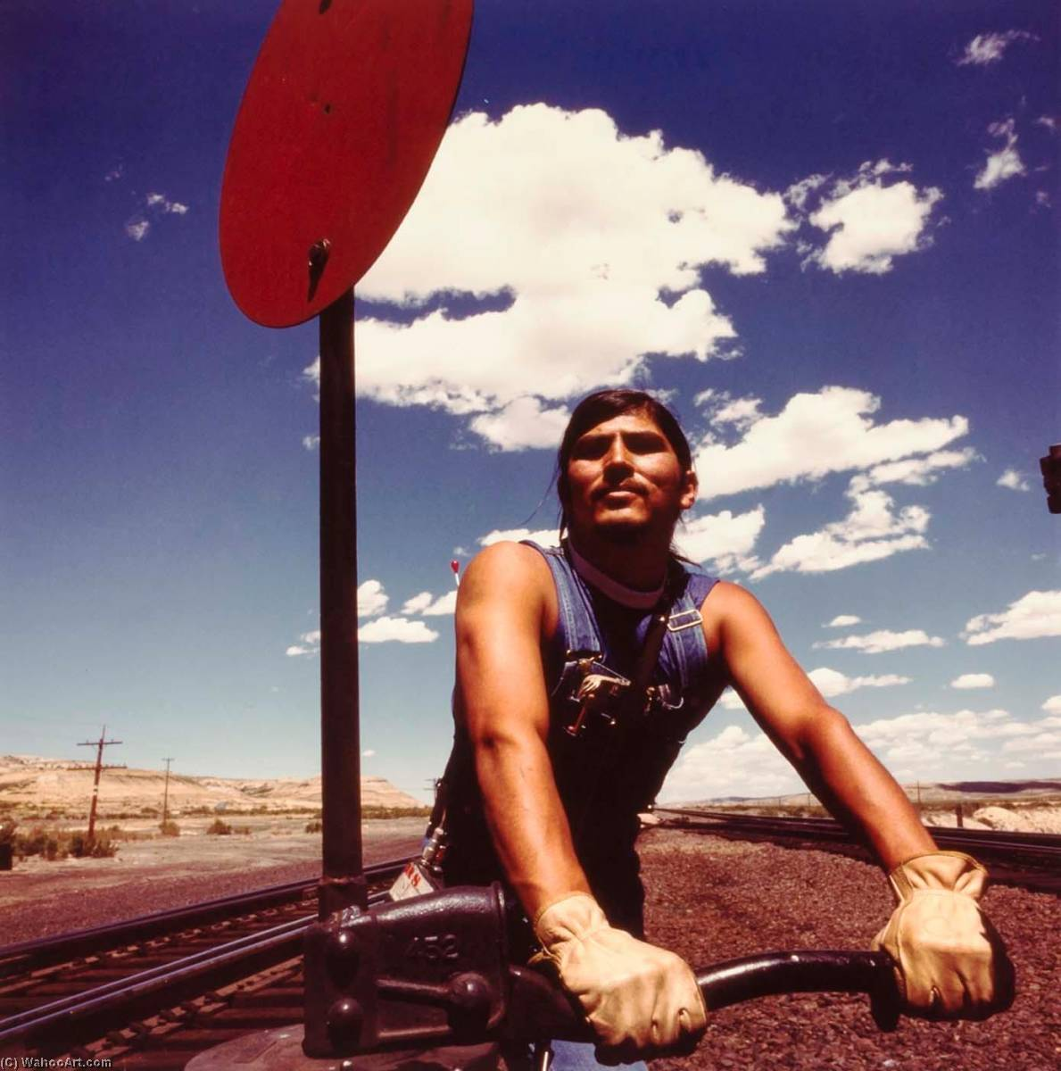 Union Pacific Railroad Switchman, from the Wyoming Documentary Survey Project, 1979 by Penny Diane Wolin | Painting Copy | WahooArt.com