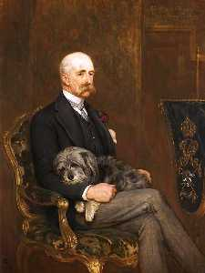 John Charlton - Godfrey Charles Morgan, 2nd Baron, 1st Viscount Tredegar, with His Skye Terrier, 'Peeps'