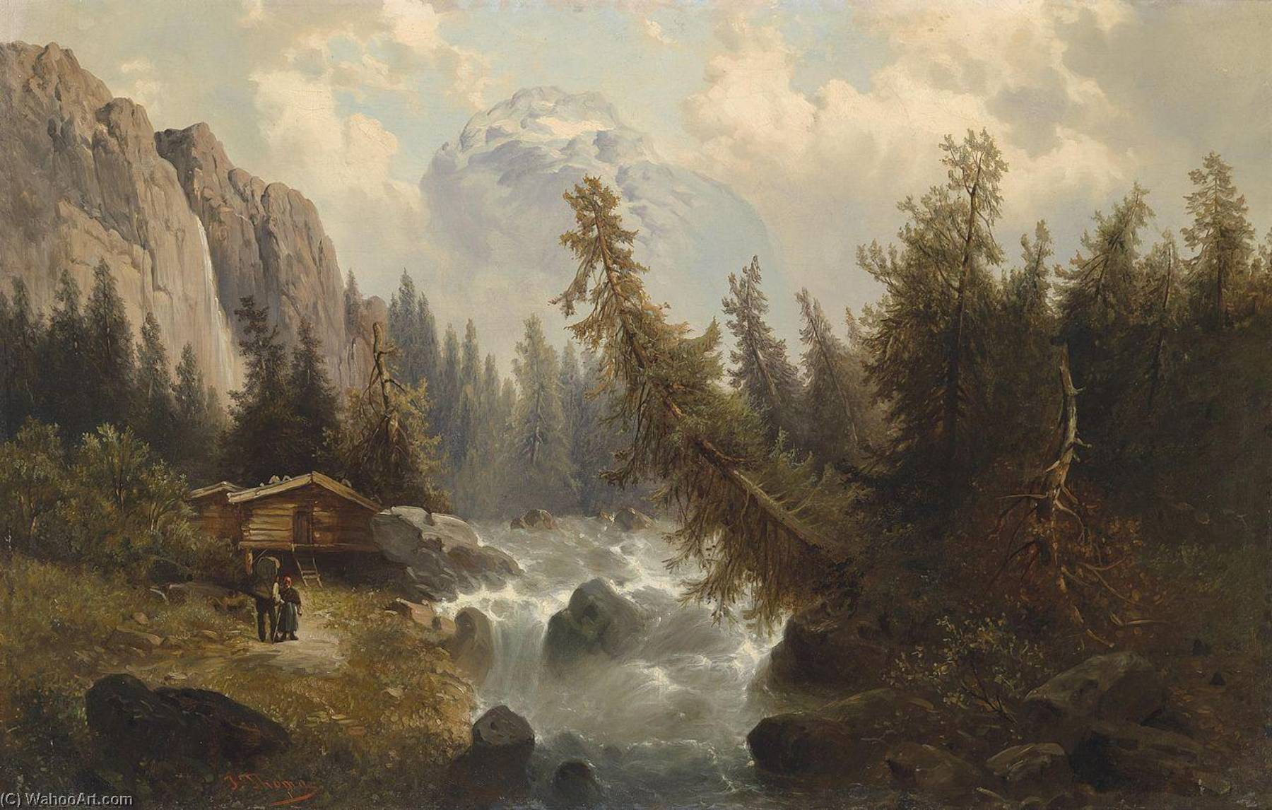 Order Paintings Reproductions | Landscape with mountain stream by Josef Thoma | WahooArt.com