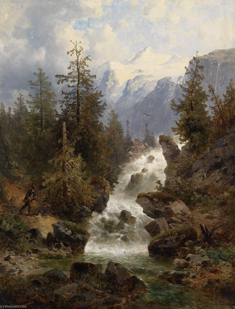 Hunter by the Waterfall by Josef Thoma | Reproductions Josef Thoma | WahooArt.com