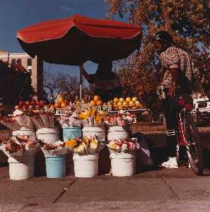 Brian V Jones - Fruit Seller with man on bicycle, from the series Connecticut Avenue