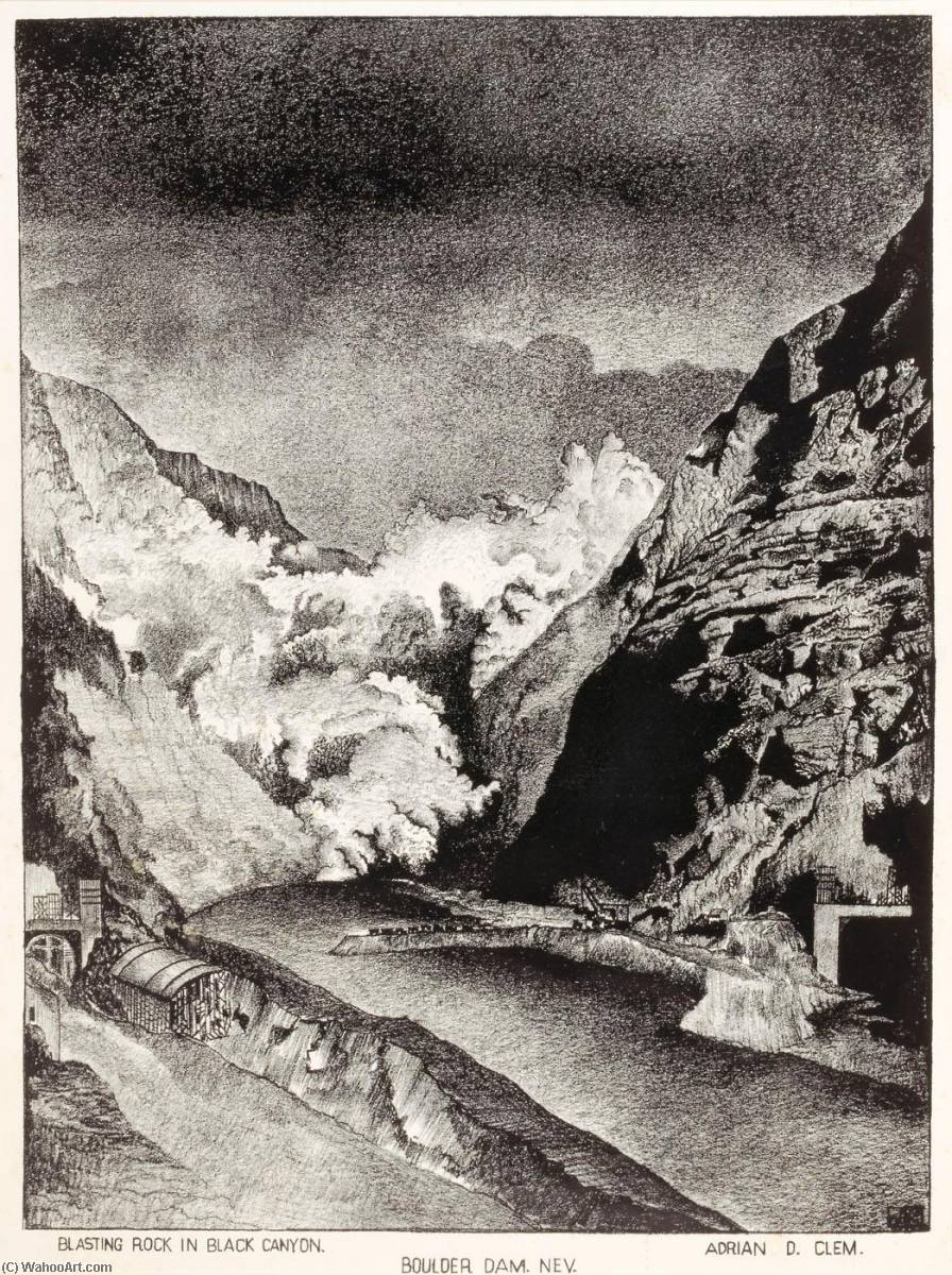 Blasting Rock in Black Canyon, Boulder Dam, Nevada, 1934 by Adrian D Clem | Art Reproductions Adrian D Clem | WahooArt.com
