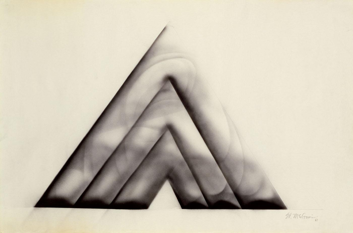 Three Locked Pyramids, Charcoal by Ed Mcgowin