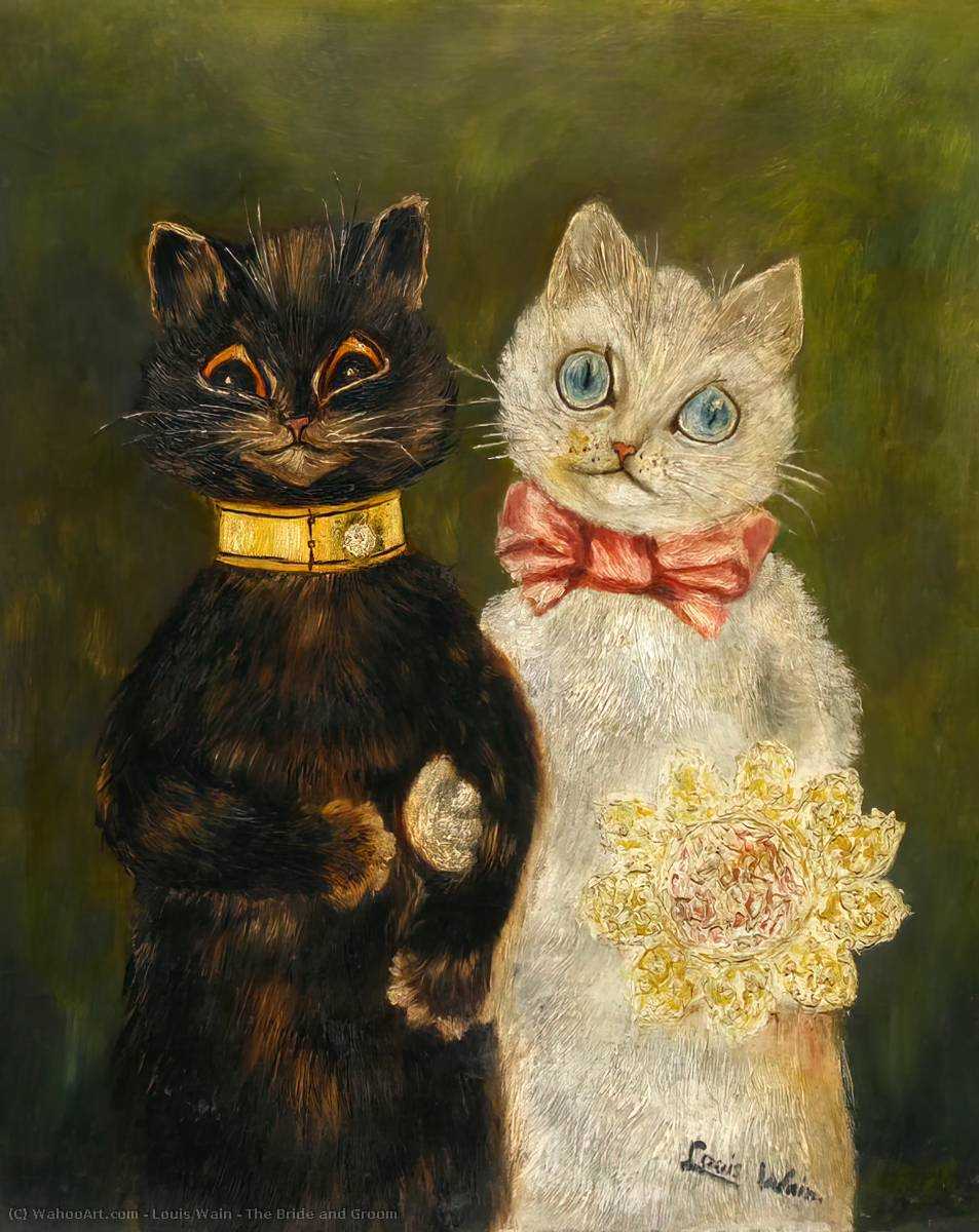 The Bride and Groom by Louis Wain (1860-1939) | Art Reproduction | WahooArt.com
