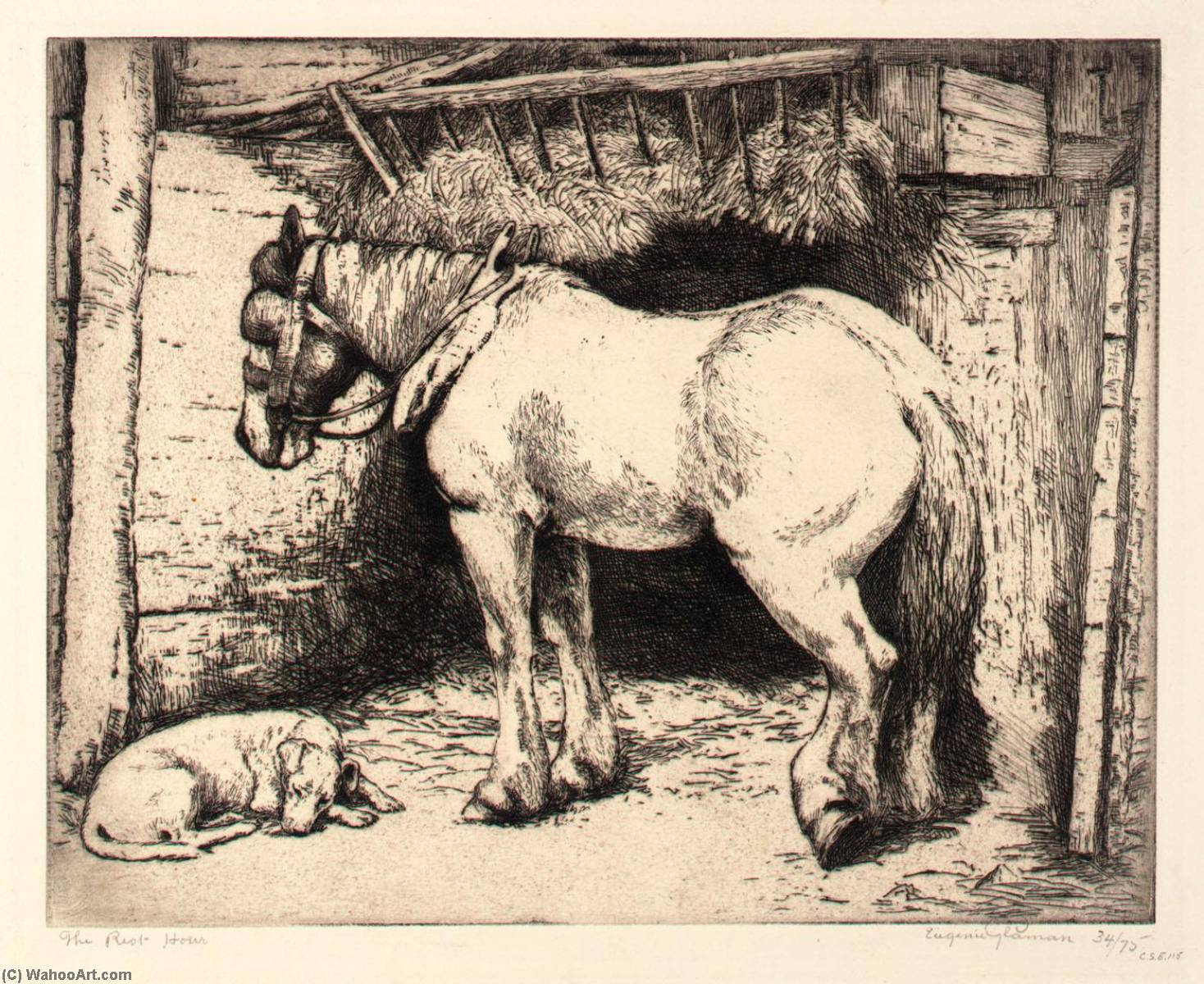 The Rest Hour, Etching by Eugenie Fish Glaman (order Fine Art hand made painting Eugenie Fish Glaman)