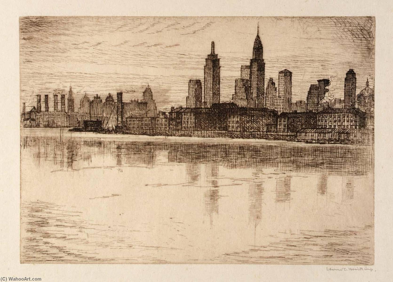 (New York Skyline) by Edward S Hewitt | Famous Paintings Reproductions | WahooArt.com