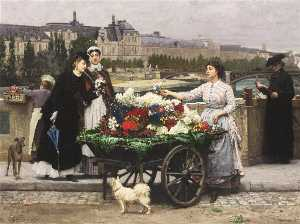 Marie Francois Firmin-Girard - A Flower Seller on the Pont Royal