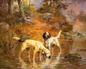 Percival Leonard Rosseau - Two Setters in a Cooling Stream on the Grounds of Overhills, Fayetteville, North Carolina