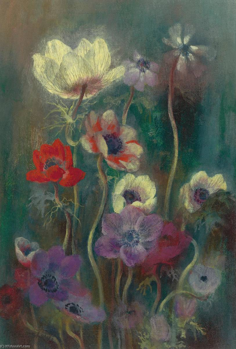 Anemones, Oil On Canvas by Pavel Fedorovich Tchelitchew