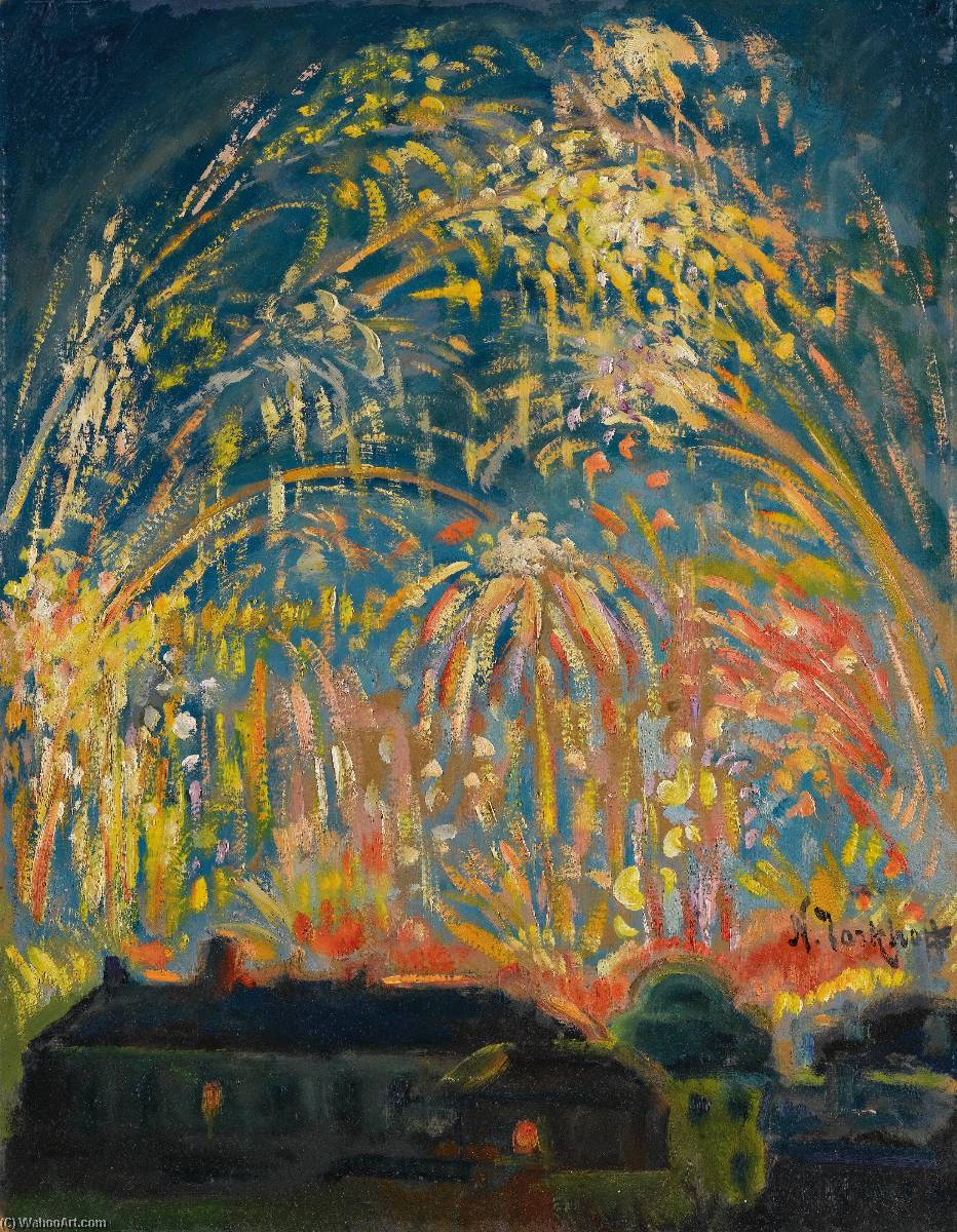 Fireworks in Nice, Oil On Canvas by Nikolai Aleksandrovich Tarkhov (1871-1930, Russia)