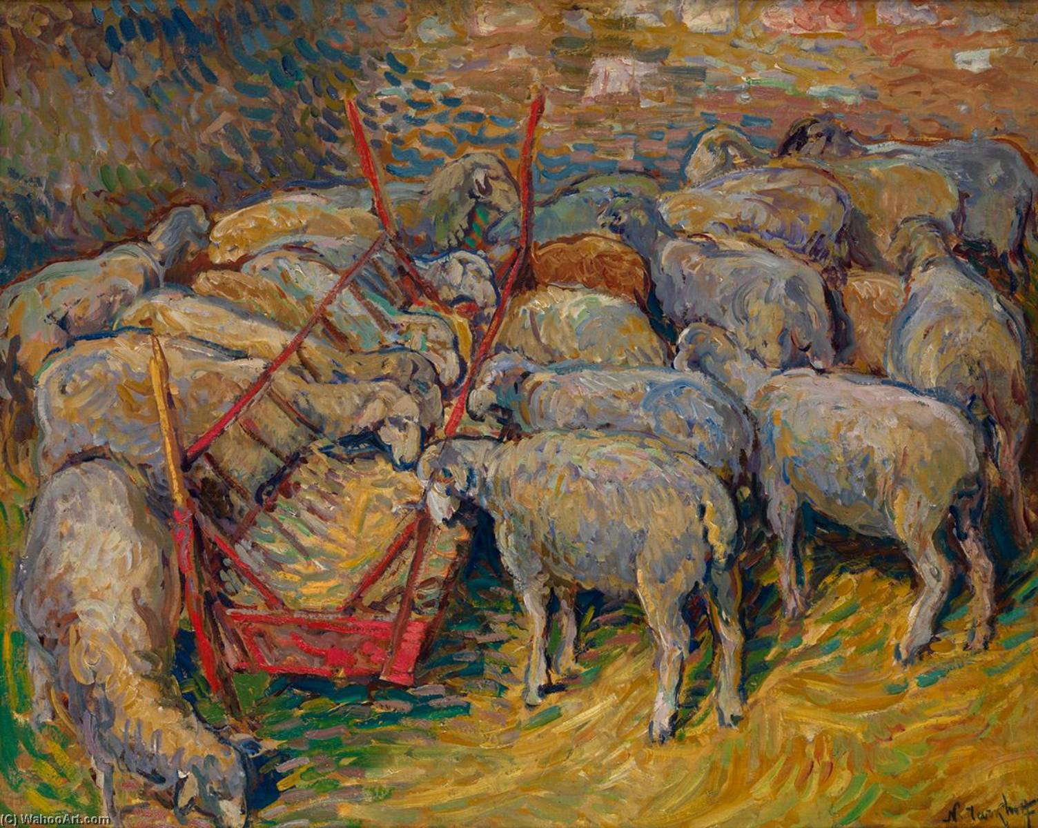 Les Moutons, Oil On Panel by Nicolas Tarkhoff (1871-1930)