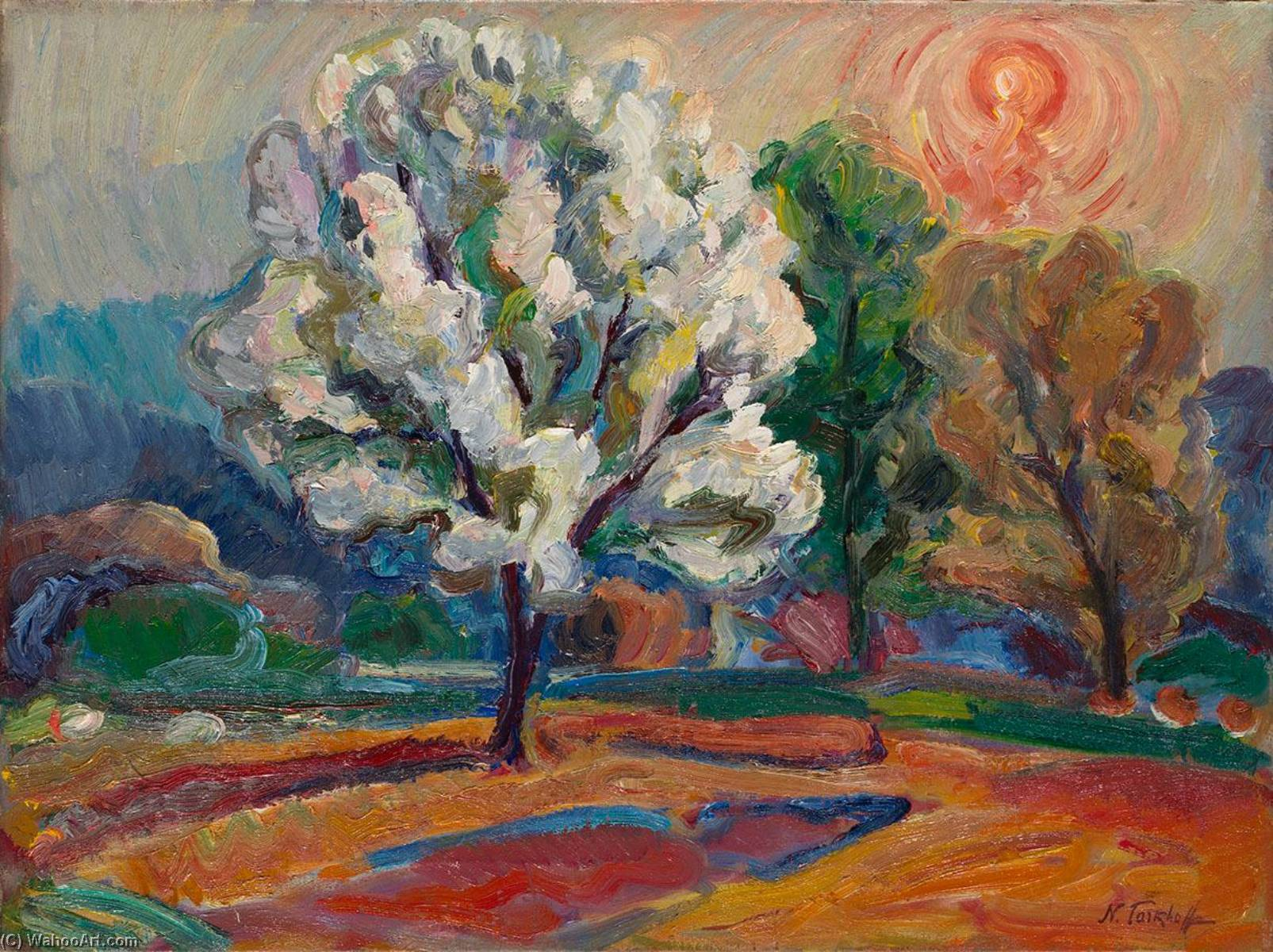 Landscape at Sunset by Nicolas Tarkhoff (1871-1930) | Painting Copy | WahooArt.com