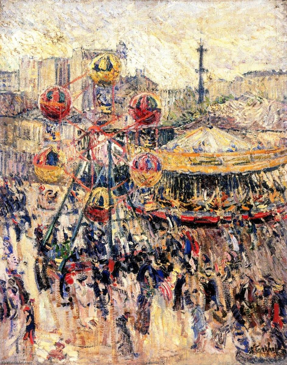Order Museum Quality Reproductions : Merry Go Round in Montmarnasse, 1901 by Nicolas Tarkhoff (1871-1930) | WahooArt.com