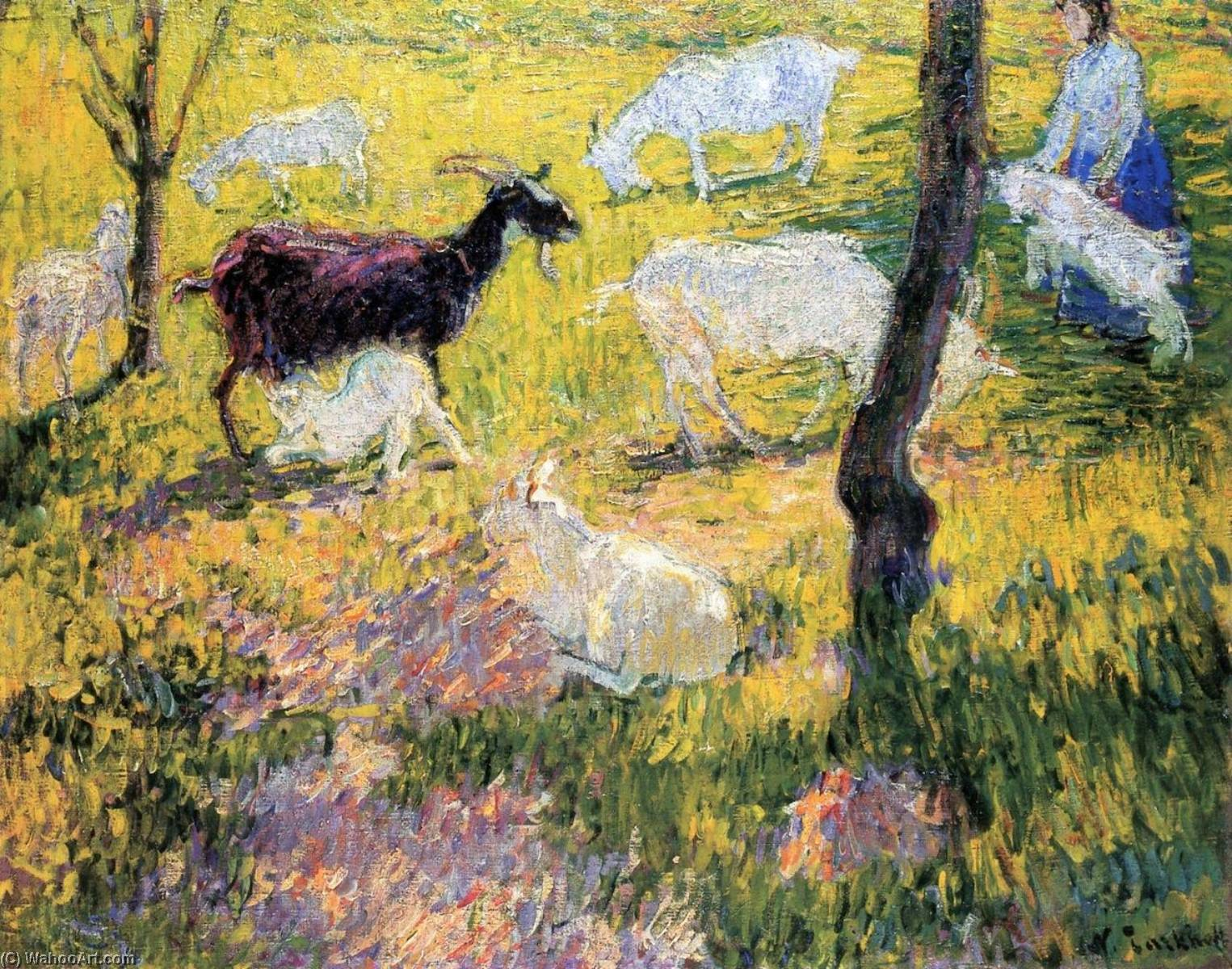 Goats in the Field, Oil On Canvas by Nicolas Tarkhoff (1871-1930)