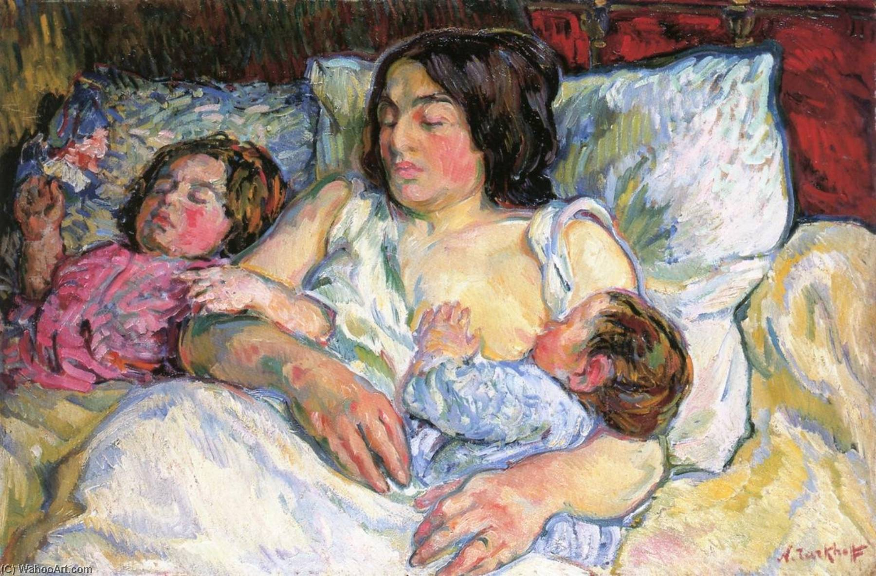 Madame Tarkhoff with Her Two Children Jean and Boris, 1907 by Nicolas Tarkhoff (1871-1930) | Museum Quality Reproductions | WahooArt.com