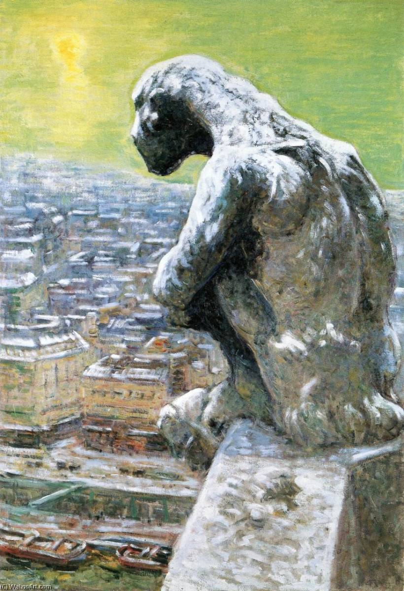 Gargoyle of Notre Dame (also known as Gargoyle of Notre Dame Portruding above the Seine), 1901 by Nicolas Tarkhoff (1871-1930) | Museum Quality Reproductions | WahooArt.com