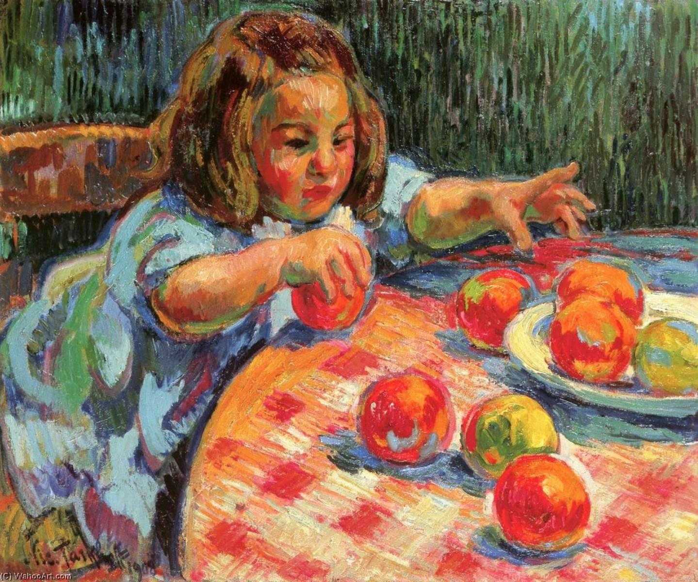 Jean, Son of the Artist, Playing with Apples, 1908 by Nicolas Tarkhoff (1871-1930) | Art Reproduction | WahooArt.com