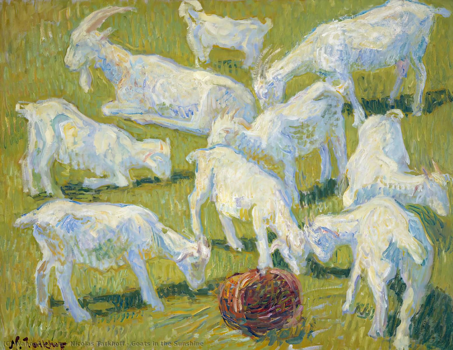 Goats in the Sunshine, 1904 by Nicolas Tarkhoff (1871-1930) | Museum Quality Reproductions | WahooArt.com