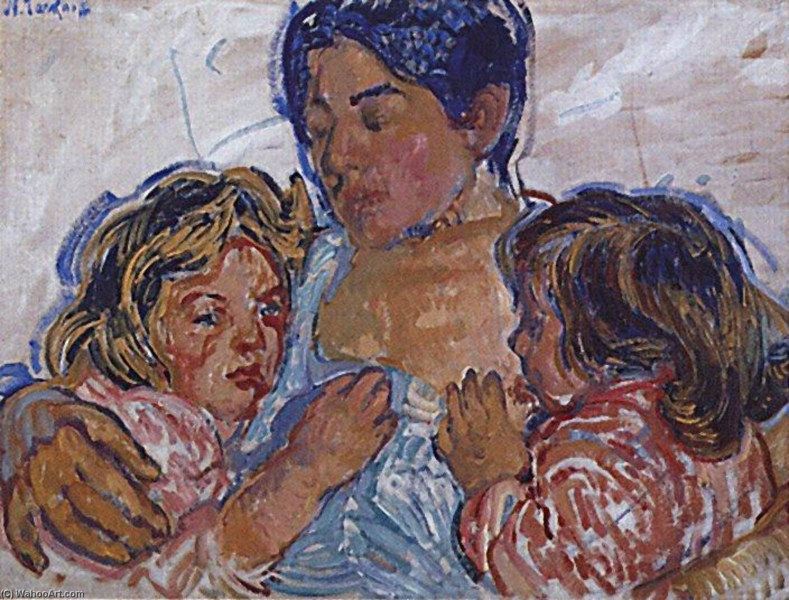Mother's Tenderness, Oil On Panel by Nicolas Tarkhoff (1871-1930)