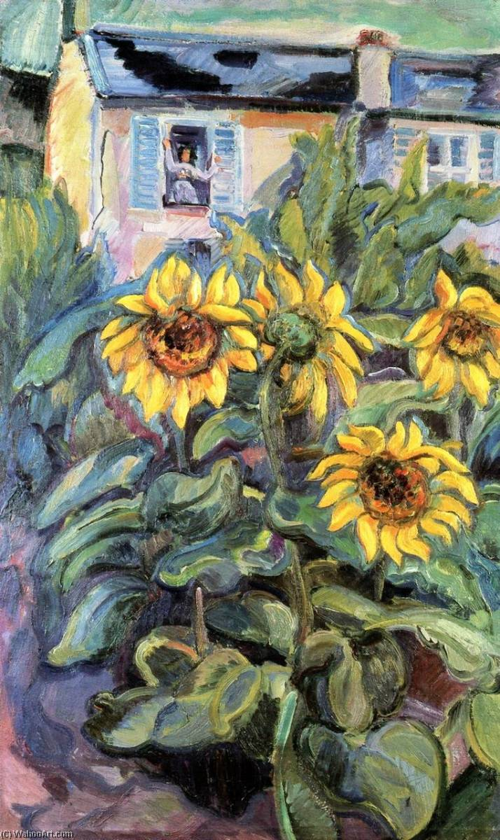 Order Famous Paintings Reproductions : House with Sunflowers, 1907 by Nicolas Tarkhoff (1871-1930) | WahooArt.com